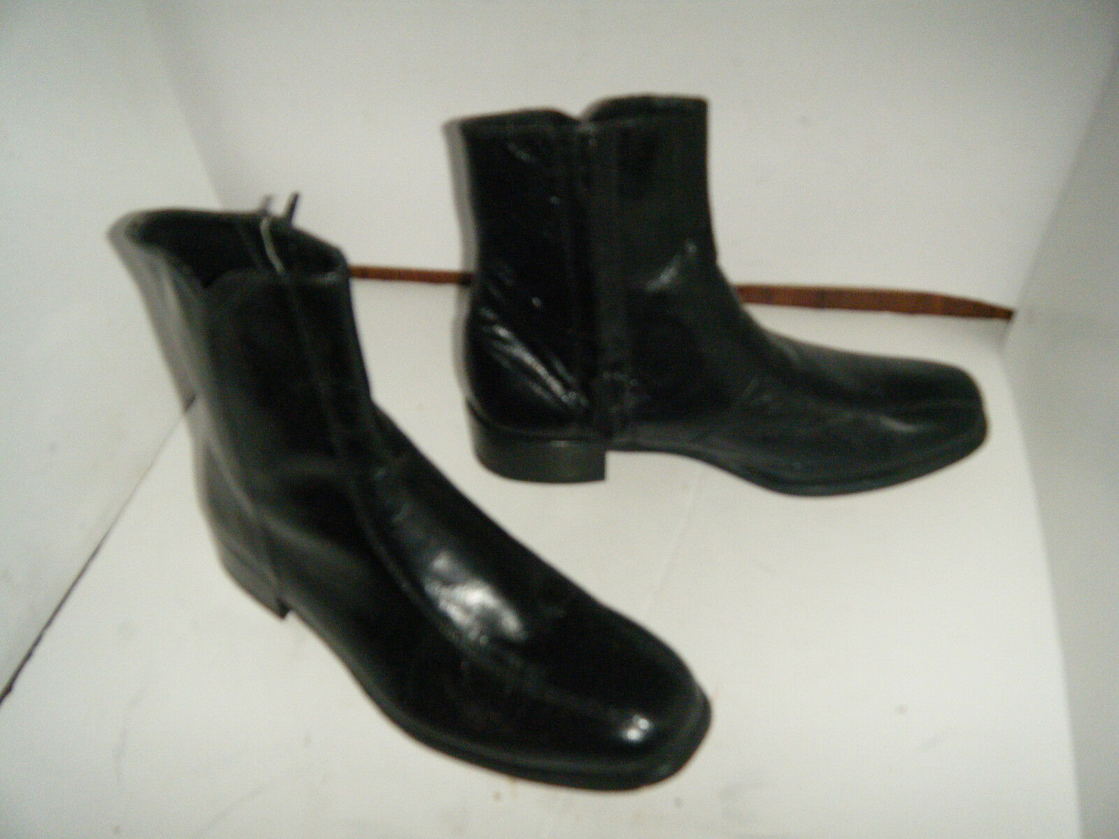 FLORESHEM Vintage schwarz leather zipper Ankle dress Stiefel Größe 8 D