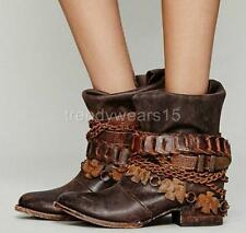 FAST SHIP! BNWB! SZ 9 FREEBIRD BY STEVEN YERBA BROWN LEATHER CHAIN BELT BOOTS