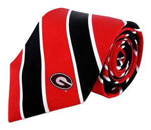 Georgia-Bulldogs-Logo-Silk-Neck-Tie-NCAA-Licensed-Repp-Stripe-Red-Classic-Cut