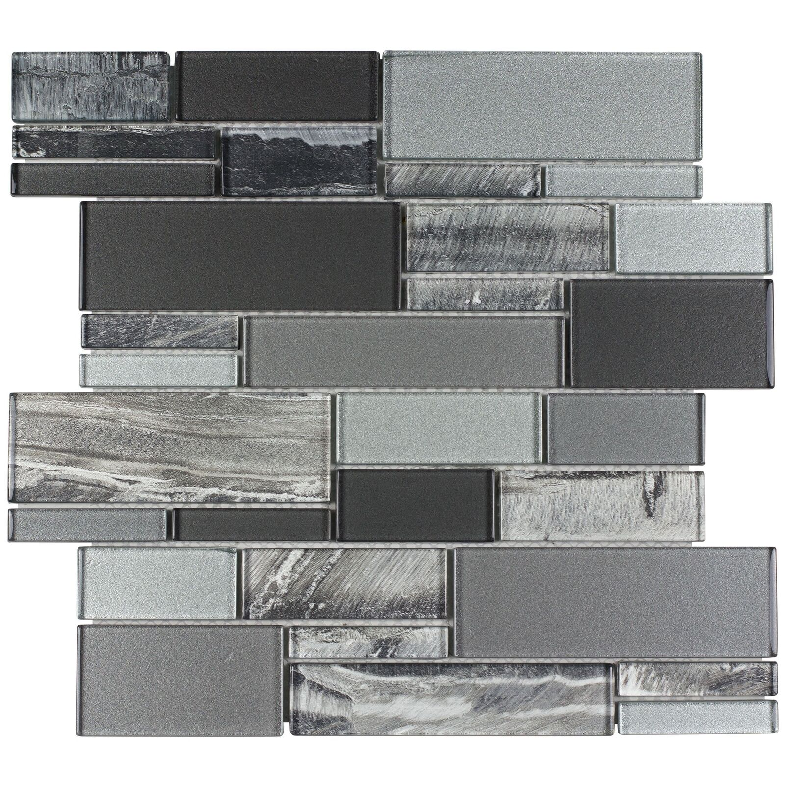 - Classic Uniform Squares Black Grey White Glass Mosaic Tile