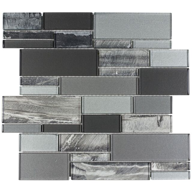 Mto0238 Clic Uniform Squares Black Grey White Gl Mosaic Tile