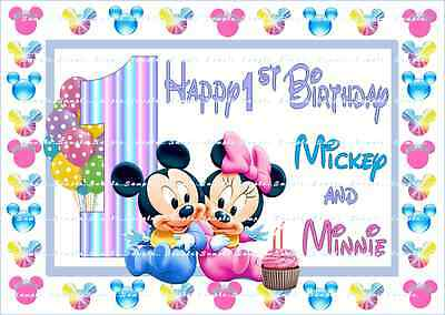 Cheap Sale Twin Disney Mickey Minnie 1 Birthday:personalized Edible Images Free Ship Canada To Adopt Advanced Technology Home & Garden
