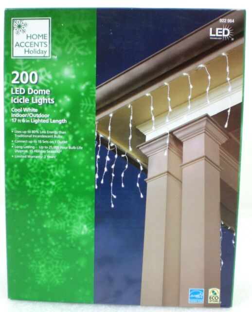 Home Accents Holiday 200-Light Cool White LED Dome Icicle Light Set CHRISTMAS