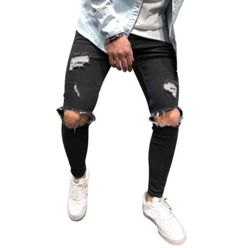 Rétro Fit 6 Déchiré Pantalon Crayon Jeans trous 4 Slim cassé Denim sur Homme Skinny tZW5gHq