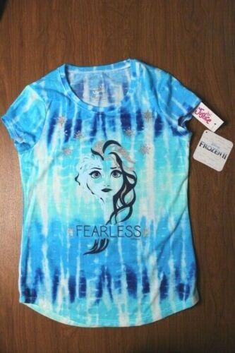 """Disney Frozen II Justice Girls/' Size 8 Blue Tie Dye Shirt /""""Fearless/"""""""