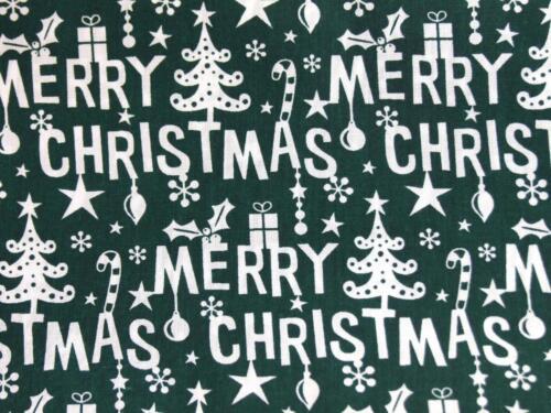 Feliz Navidad verde y blanco de poli algodón material Tela Para Craft Bunting