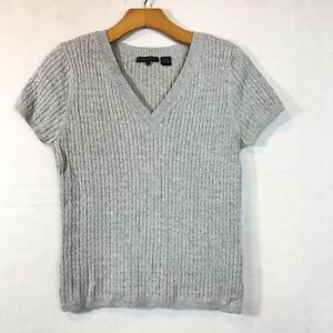 0c856a239a Womens Jeanne Pierre Short Sleeve Cable Knit Vneck Sweater Sz M Gray ...