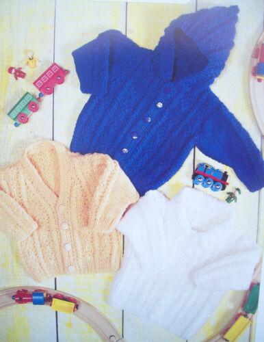 Baby Boys Girls Hooded Jacket Cardigan KNITTING PATTERN Aran 14-24in Prem 7205