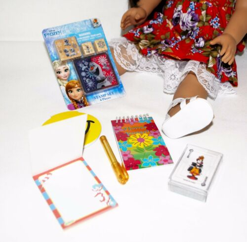 """DOLL GAMES FROZEN STAMP SET NOTEPADS CARDS FOR 18/"""" AMERICAN GIRL DOLL"""
