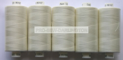 5 REELS LIGHT IVORY MOON POLYESTER SEWING THREAD COTTON 120s 107