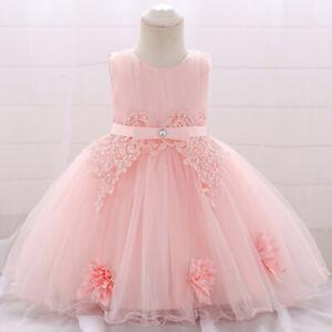 Details Zu Baby Kleinkind Mädchen Scherzt Kleid Taufe Gelegenheits Hochzeits Kleid