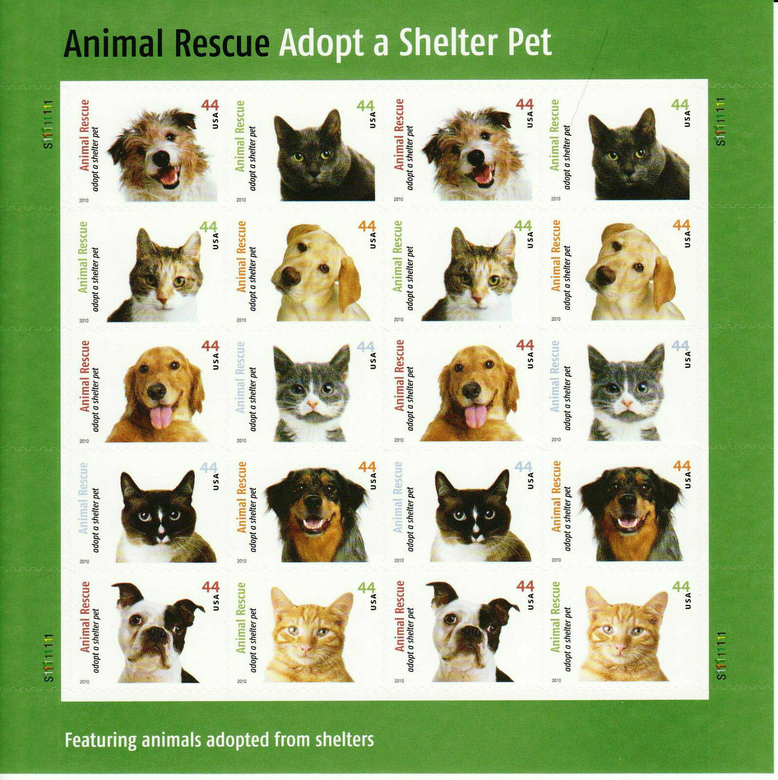 2010 44c Adopt a Shelter Pet, Sheet of 20 Scott 4451-60