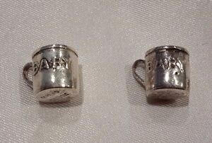 Lot-of-2-Sterling-Silver-Charm-Earring-w-o-Loop-1-5g-Baby-Mug-Cup-Teacup-3-8-034