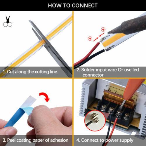Flexible COB LED strip light 12V 24V FOB 224//384//528 High Density Dimmable Tape