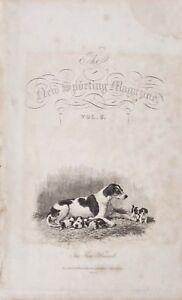1834 Datato Antico Stampa Frontispiece Caccia Rivista The Fox Hound