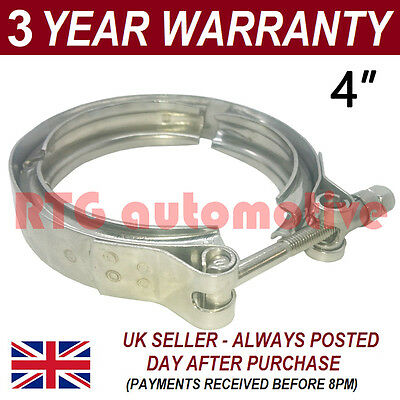 "V-BAND CLAMP STAINLESS STEEL EXHAUST TURBO HOSE REPLACEMENT FLANGES 4/"" 102mm"