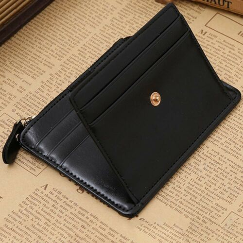 Leather Wallet Slim Small ID Credit Card Holder Cash Purse Zipper for Men Great