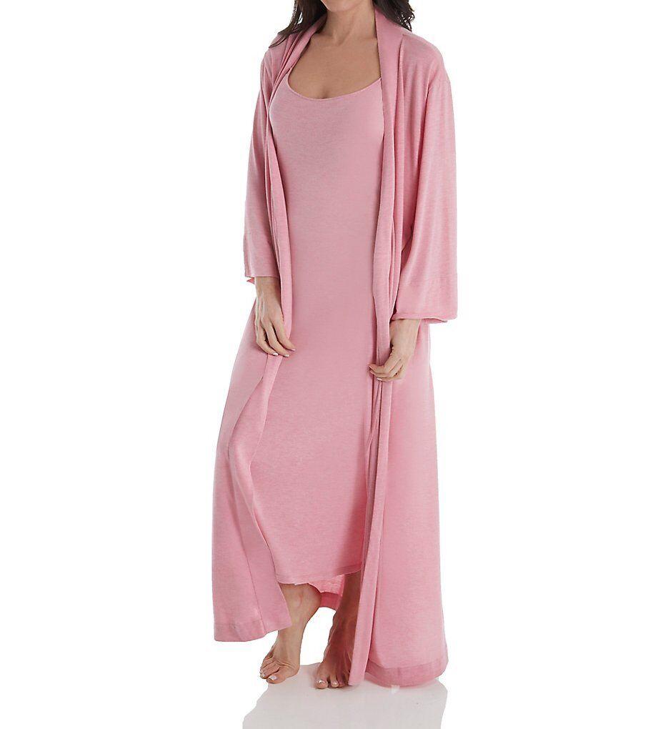 Natori SHANGRI-LA Heather Pink Modal Jersey Knit Long Wrap Robe & Gown - M