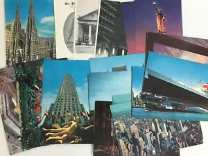 Vintage-Postcards-New-York-City-Lot-of-18-Rockefeller-Liberty-St-Patrick-St-Paul