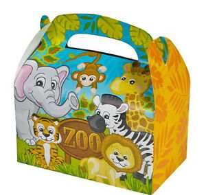 24 PARTY TREAT BOXES ZOO ANIMALS FAVOR GOODY BAG BIRTHDAY CARNIVAL SAFARI BOX