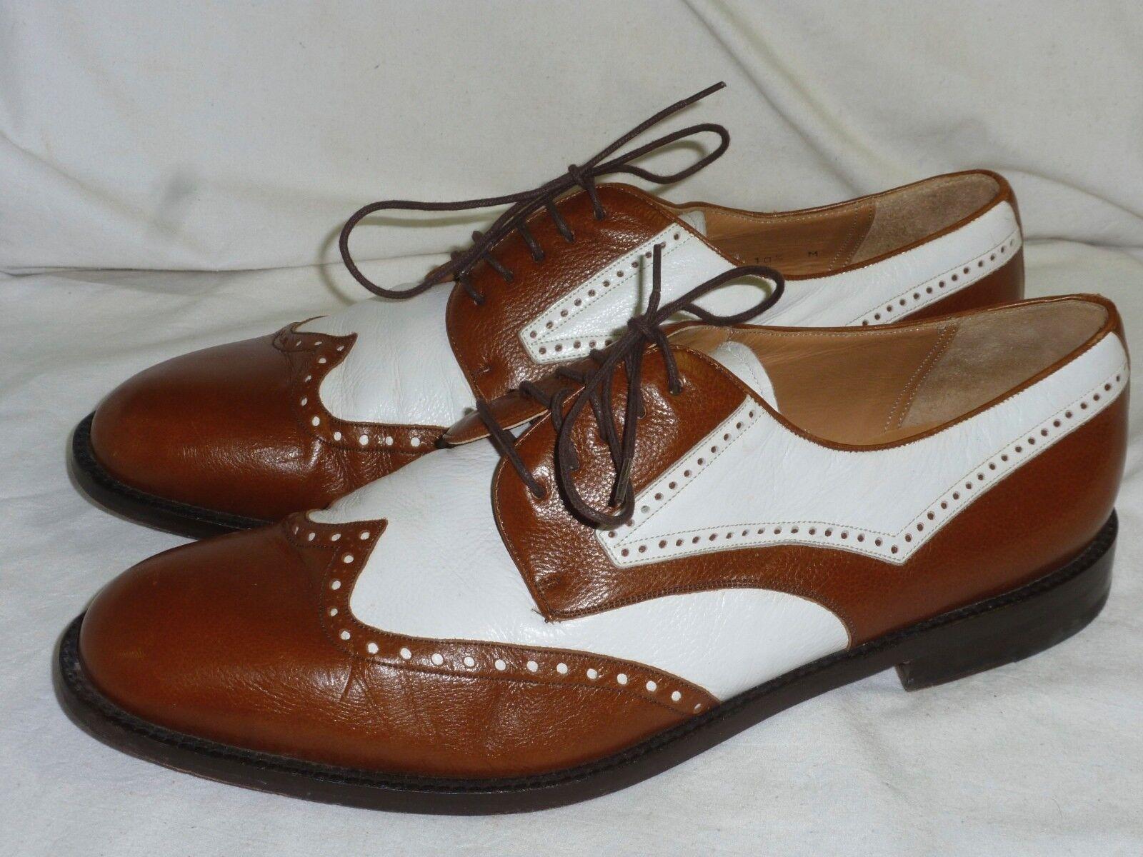 Mezlan Two-Tone bianca & Marronee Leather Wingtip Oxford 10.5 M Sautope classeiche da uomo