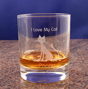Cat Lady Gift Cat Lover Gift Cat Gift For Mum Cat Whisky Glass Personalised
