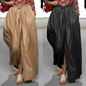 UK-Women-Long-Leather-Skirt-Ladies-High-Waist-Casual-Party-Swing-Maxi-Dress-8-26