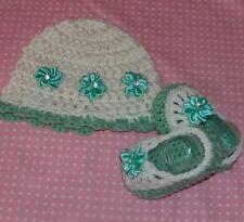 Handmade Crochet Baby Girl Hat Booties Set White & Aqua  Newborn 3 Months