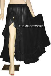 TMS BLACK Ruffle Full Circle Skirt Belly Dance TRIBAL Costume Long JUPE ROBE NEW
