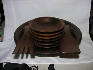 VINTAGE OZARK WALNUTWARE/ SOLID WALNUT NOTIVE WOOD PRODUCTS, INC. ELEVEN PIECES