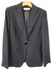 Tahari ASL Size 8 pin striped black one button slim fit woman Blazer