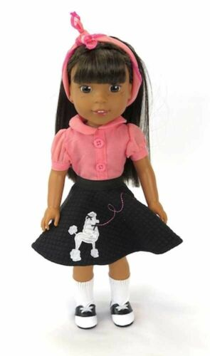 """14.5/"""" Doll Clothes Sock Hop Poodle Skirt Set Saddle Shoes fits Wellie Wisher NEW"""