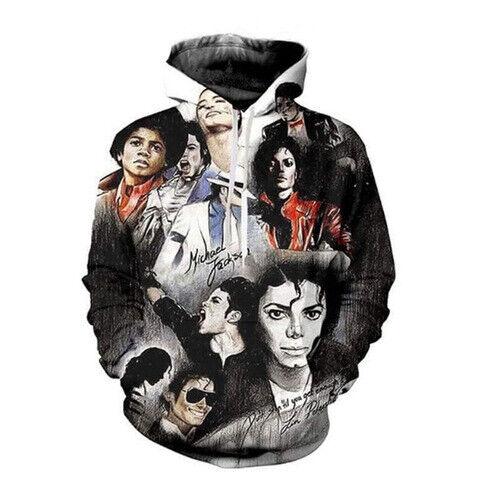 Women Men 3D Print Michael Jackson Outfits Hoodies Pullover Sweatshirt Plus Size