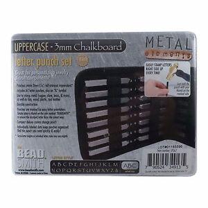 3mm-Chalkboard-UPPERCASE-Letter-Stamp-Set-Punch-27-Piece-Steel-Metal-Alphabet