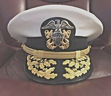 USN DRESS WHITE UNIFORM - ADMIRAL WHITE VISOR HAT MOST SIZES