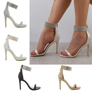 Womens-Diamante-Ankle-Strap-Heels-Ladies-Sparkly-Stiletto-Peeptoe-Party-Sandals