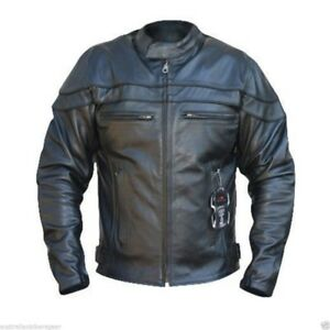 BUSA-Bikers-Gear-Sturgis-Crusier-CE-Armour-Cowhide-Leather-Motorcycle-Jacket