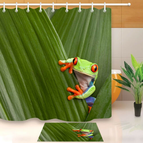 "71/"" Red-eyed Tree Frog on Leaf Shower Curtain Liner Waterproof Bath Mat Hooks"