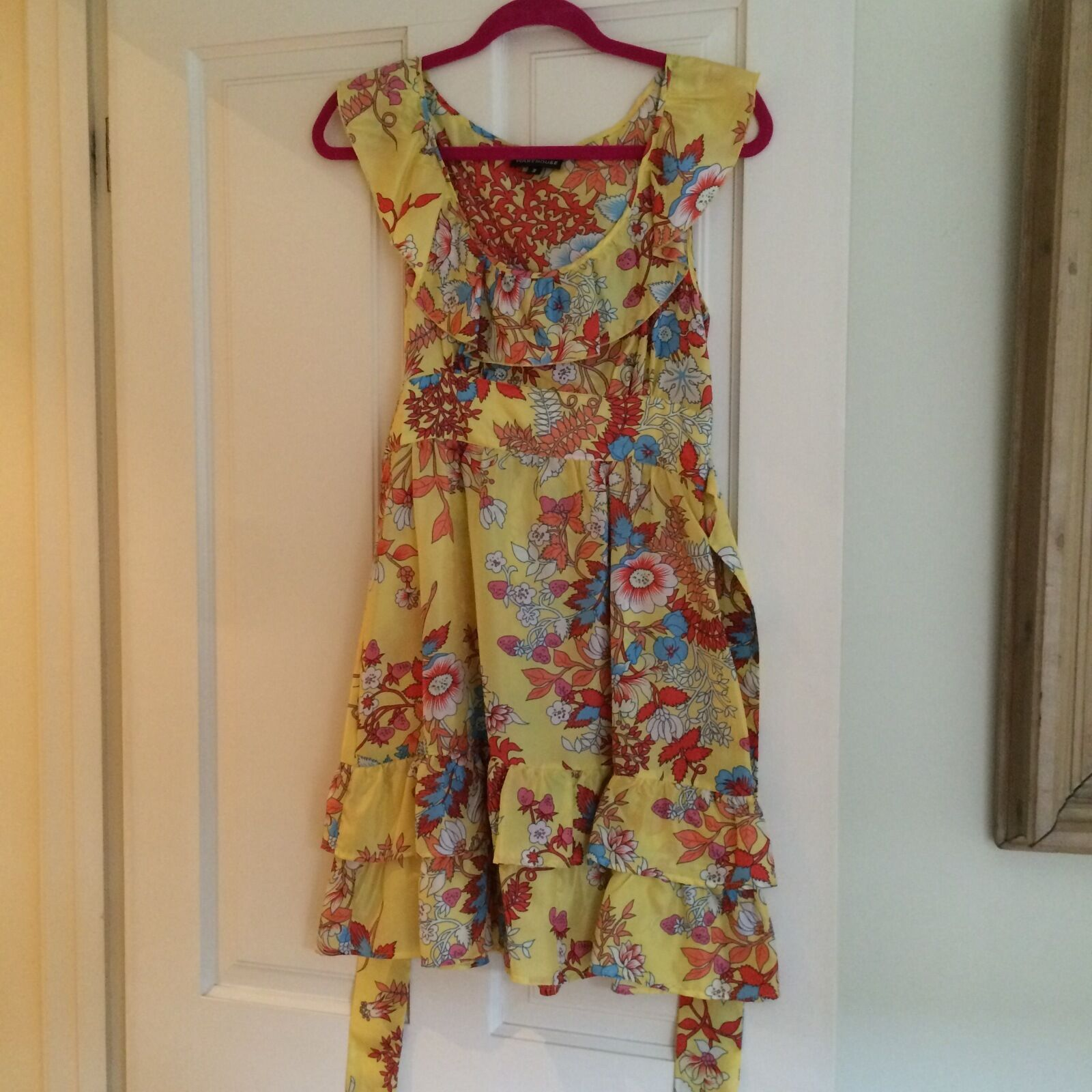 Warehouse Yellow Flowery Dress with tie waist, 100% Silk, Size 10, WORN ONCE