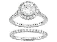 Jtv Bella Luce 6.29ct Round Rhodium Pltd 925 Sterling Wedding Ring Set Sz 8