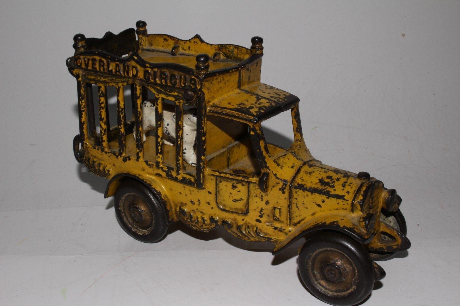 Kenton 1920's Cast Iron Overland Circus Truck with Polar Bear, Yellow, Original