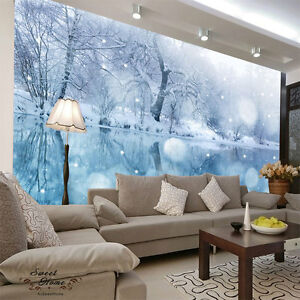 Lake winter snowy ice full wall mural decal print for Winter wall murals
