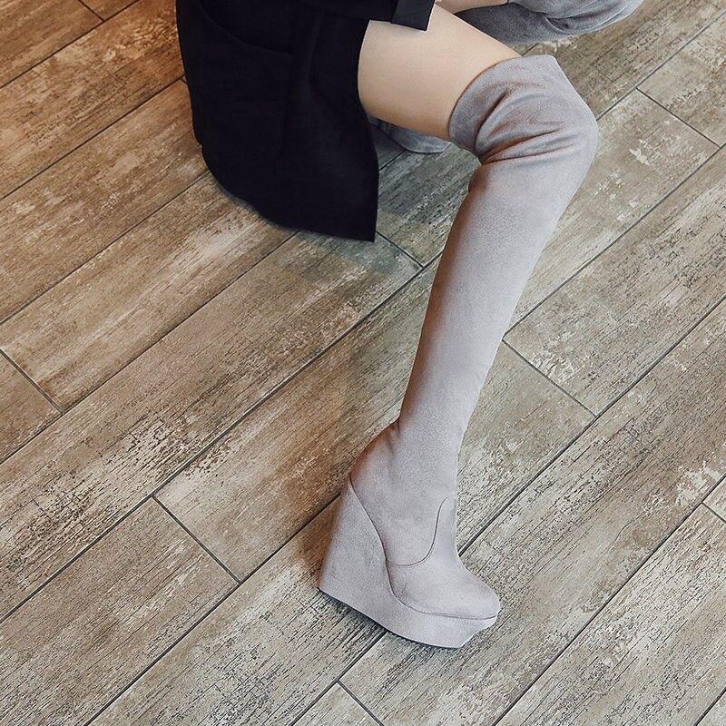 Moda Para mujeres Suede sobre la rodilla botas Cuña de de de plataforma taco alto Zapatos informales  ventas en linea