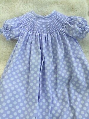 READY TO SMOCK NAVY PIN DOT PRINT BISHOP DRESS EOTH LACE SIZES 3MOS TO 4T