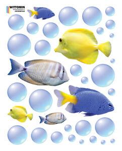 Aufkleber-Sticker-Wandaufkleber-Fische-Fisch-Fish-Bubbles-Blau-Gelb-Bad-Wanne-WC
