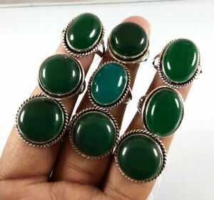 New 10 Pcs Lot Green Aventurine Gemstone 925 Sterling Solid Silver Rings BR-8