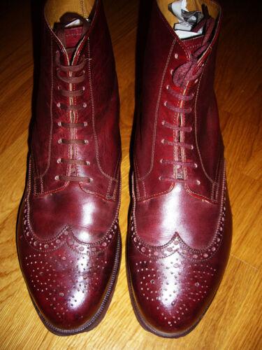 Vintage 1940's Burgundy Brogueing Ankle Boot Wingt