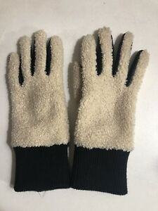 S-M-Womens-UGG-Australia-Leather-Faux-Shearling-Touchscreen-Gloves-Black-Cream