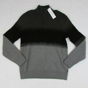 New-Men-039-s-Calvin-Klein-Sweater-1-4-Zip-Gunmetal-Hthr-Gray-amp-Black-Size-Large