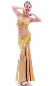 NEW Belly Dance Costume 4Pics Bra&Belt&Skirt&Necklace 34B/C 36B/C 38B/C 2colors
